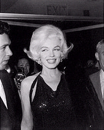 "Marilyn at the 1962 Golden Globe Awards, in which she one an award for ""The Misfits."""